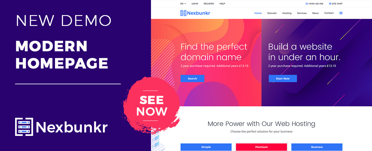 Nexbunker - Hosting/Server WordPress Theme + WHMCS - 1