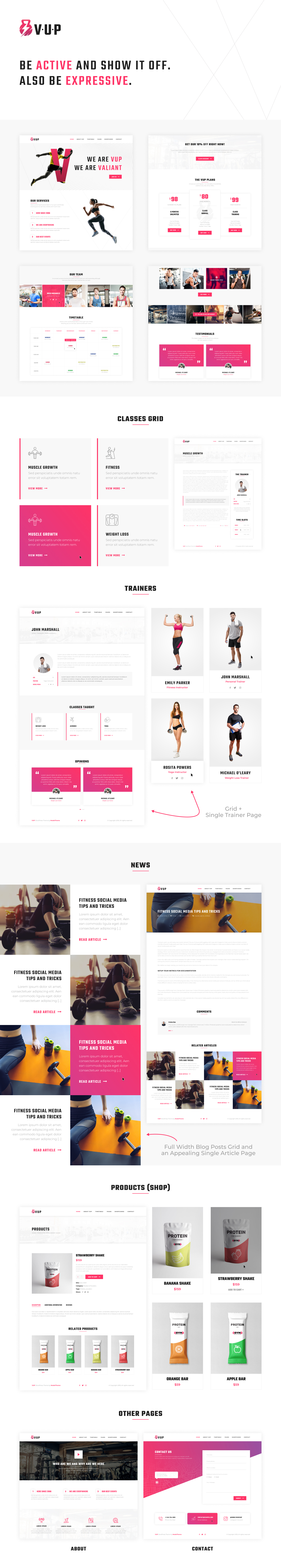 VUP - Fitness Center WordPress Theme - 1