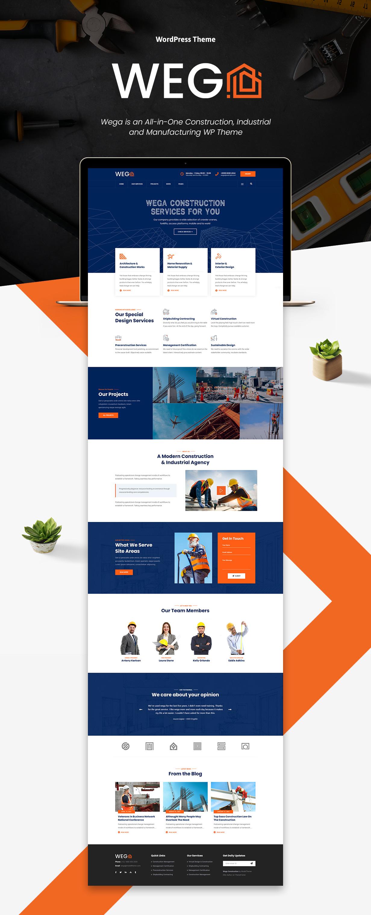 Wega - Construction WordPress Theme - 1