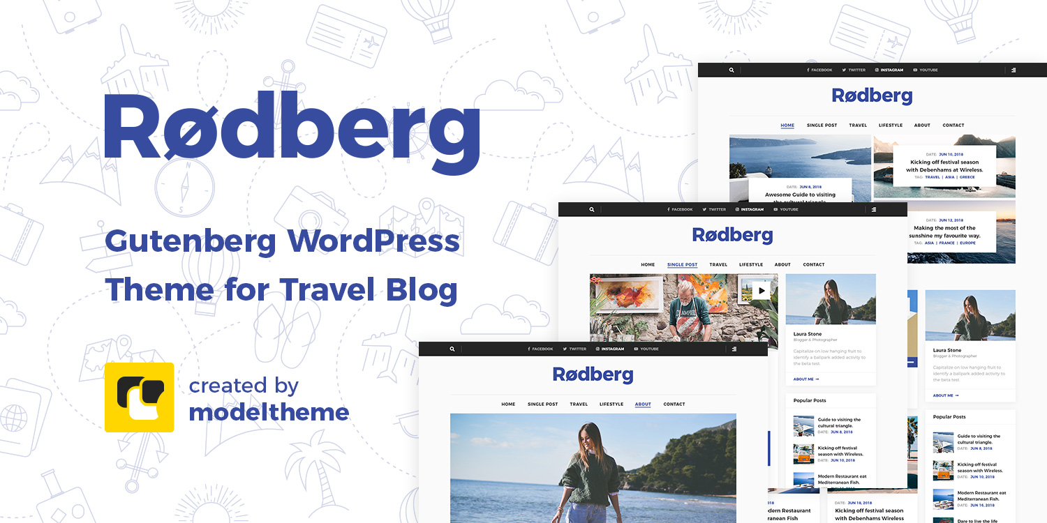 Rodberg – Travel Blog Gutenberg WordPress Theme