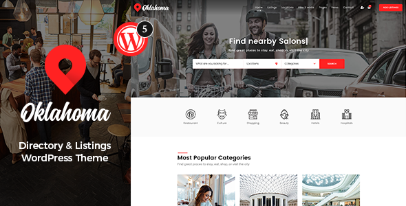 Oklahoma – Directory & Listings WordPress Theme
